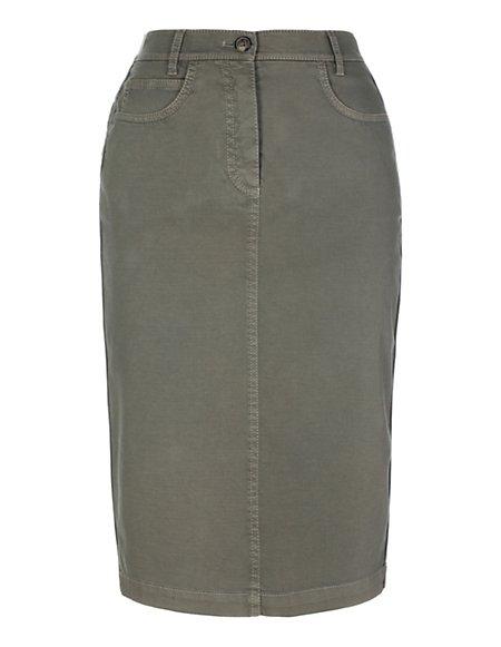 Bild MADELEINE  Schmaler, knielanger Sommerrock aus Baumwollstretch Damen khaki / dunkelbraun
