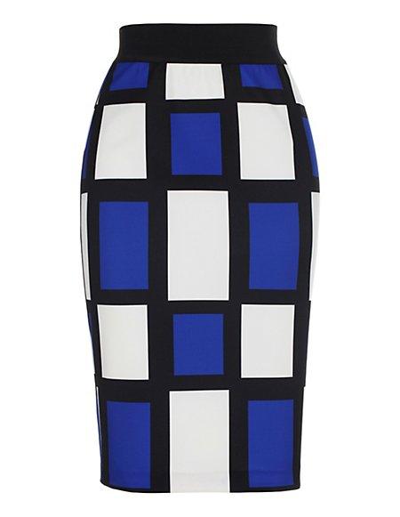 Bild MADELEINE  Bleistiftrock im Karo-Dessin Damen royal/multicolor / blau