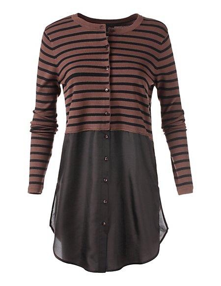 Bild MADELEINE  Geringelte Strickjacke mit Bluseneinsatz Damen cognac/schwarz / dunkelbraun