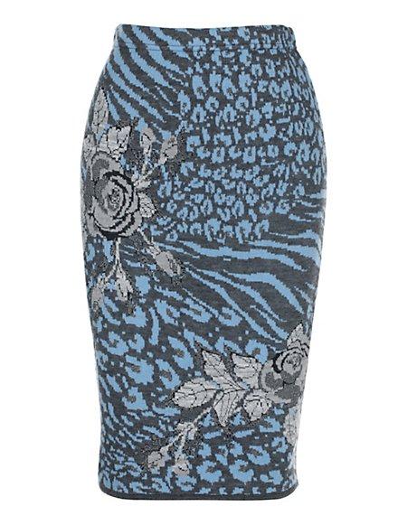 Bild MADELEINE  Strickrock Damen grau/rauchblau / blau