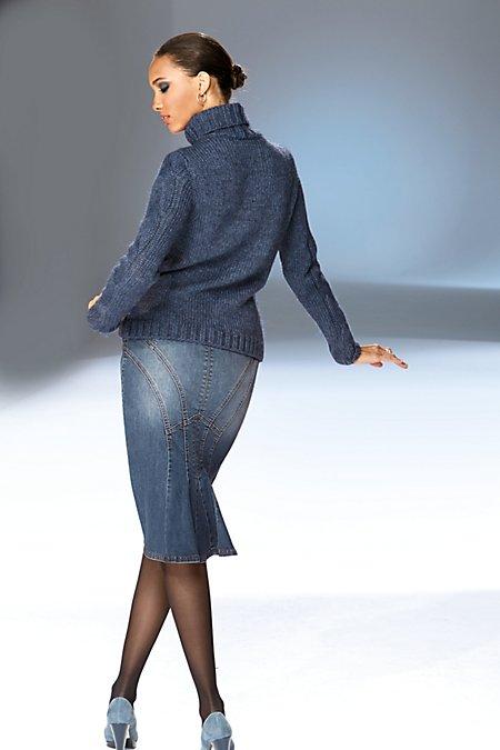 Bild MADELEINE  Schmaler, knielanger Jeansrock in Godetform Damen bleached / blau