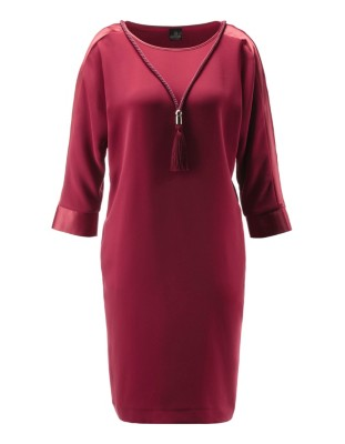 Y-shaped dress with satin trim and tassel