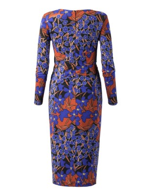 Figure-accentuating, long-sleeved jersey print dress with knot drape effect