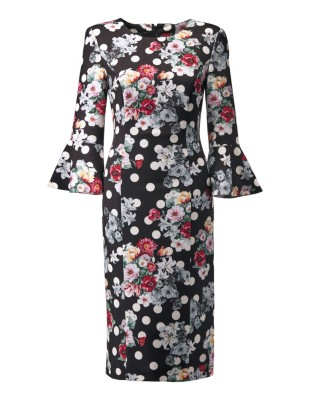 Sheath dress with flounce sleeves