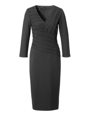 Wrap-around look sheath dress with faux pearls