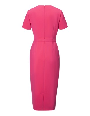 Short-sleeved midi sheath dress