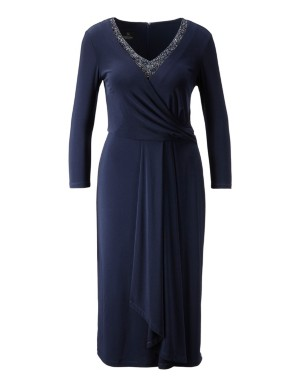 Flattering drape-front dress with faux pearl adorned neckline