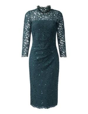 Slim fit, semi-transparent lace dress with sequins