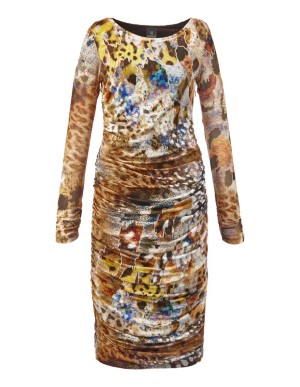 Silk, long-sleeved, figure-accentuating, floral mesh fabric dress