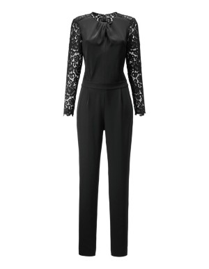 Partial lace jumpsuit with knot neckline