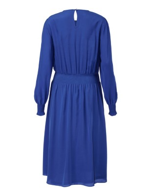 Silk dress with smocked waistband and full-length slip