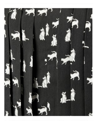 Long-sleeved, two-piece cat print dress