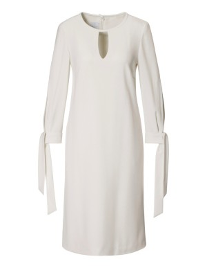 Dress with cuff ties and cut-out neckline