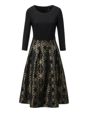 Dress with jacquard skirt section