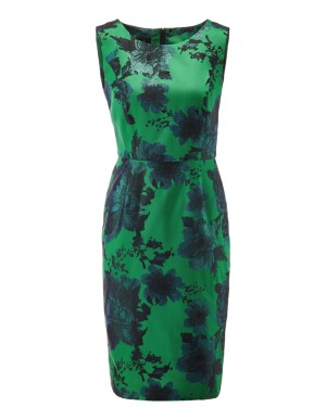 Shimmering floral jacquard sheath dress