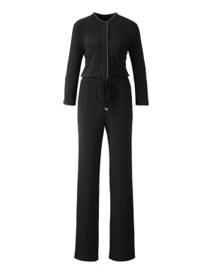 Jumpsuit with loose-fit trousers and drawstring waist