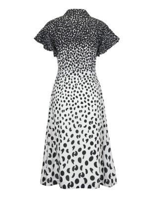 Polka dot dress with tie belt