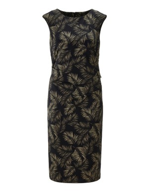 Sleeveless leaf-print dress