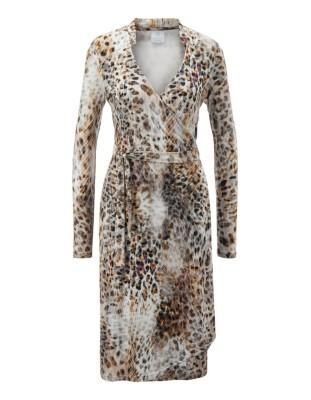 Wrap-around animal print dress