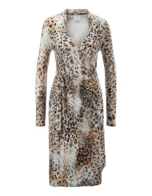 Wrap-around animal print dress