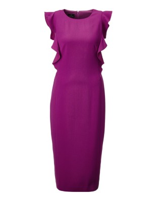 Sleeveless dress with flounces