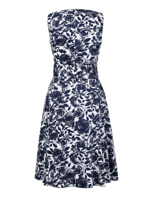Sleeveless floral dress with waist belt
