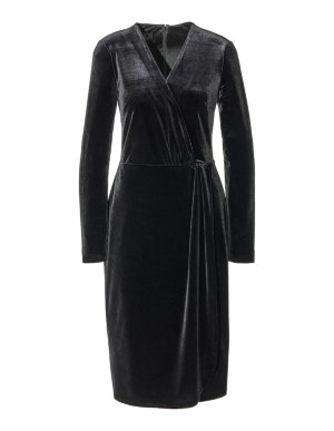 Wrap-effect velvet dress