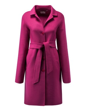 Double-faced coat with tie belt