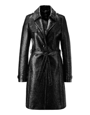 Lacquer look trench coat