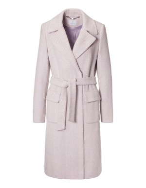 Short two-tone coat with tie belt