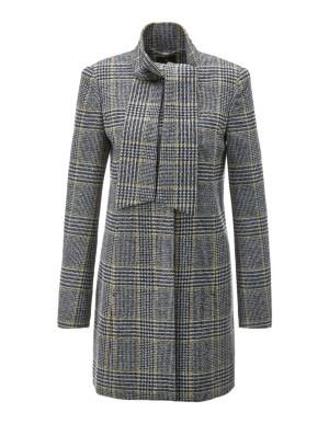 Checked tie-neck coat
