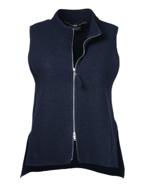 Wool waistcoat with striking two-way zip