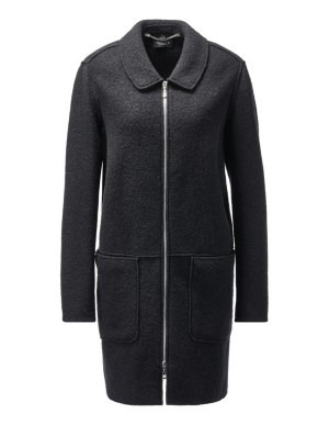 Oversized new wool jacket with two-way zip
