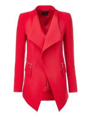 Open-front blazer with flounce lapels