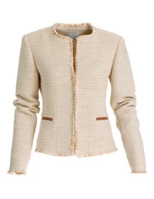 Frayed-edge tweed blazer