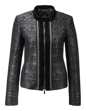 Shimmering jacquard blazer with two-way zip