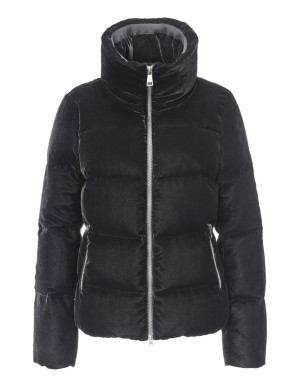 Quilted velvet jacket with two-way zip