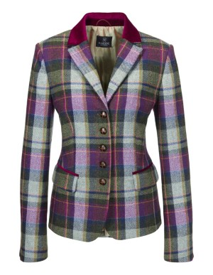 Check blazer with striking buttons and velvet trim