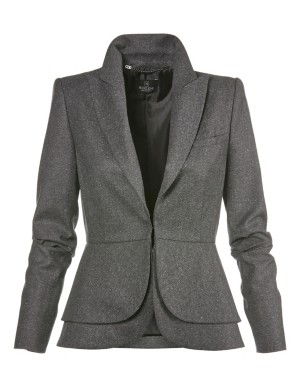 Designer blazer with striking double-layered peplum