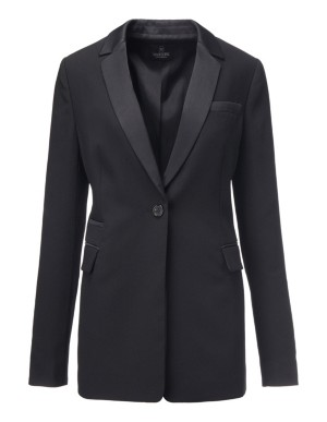 Textured crepe blazer with satin
