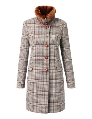 Long, slim check coat with faux fur trim