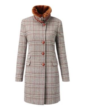 Long, slim check coat with faux fur trim