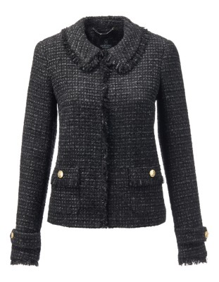 Couture-style blazer in fringed novelty tweed with insignia buttons