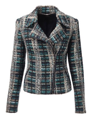 Couture-style check biker jacket