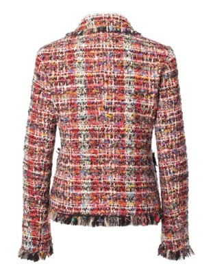 Short blazer made of a novelty yarn with fringing