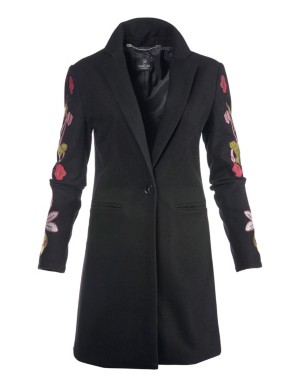 Embroidered, slim-fit frock coat