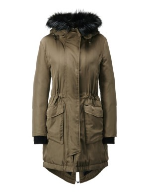 Parka with faux fur trim