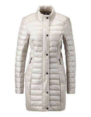 Long quilted jacket with two-way zip