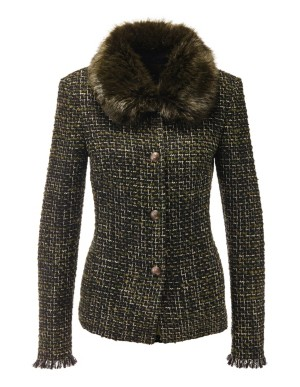Bouclé blazer with a detachable faux fur collar