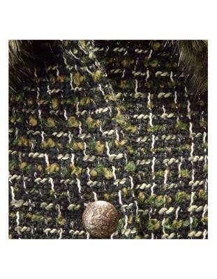 Bouclé blazer with a detachable faux fur collar